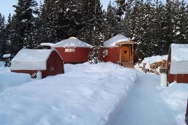 The Kitchen and Dining Room Yurts at the Yellowstone Cross Country Skier's Camp