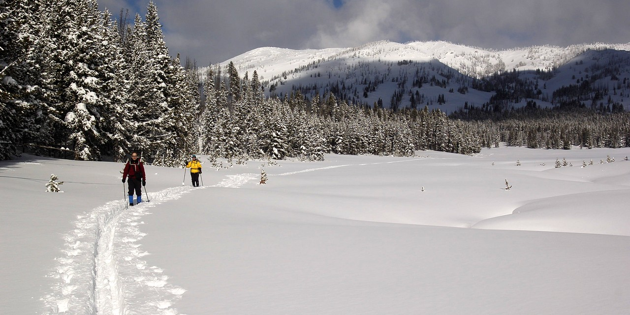 Skiing the medows of Cascade Creek - Yellowstone
